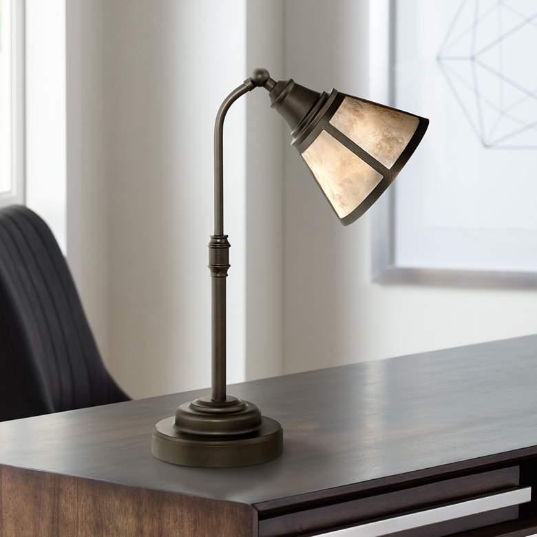 Malta Satin Bronze Mica Shade Desk Lamp