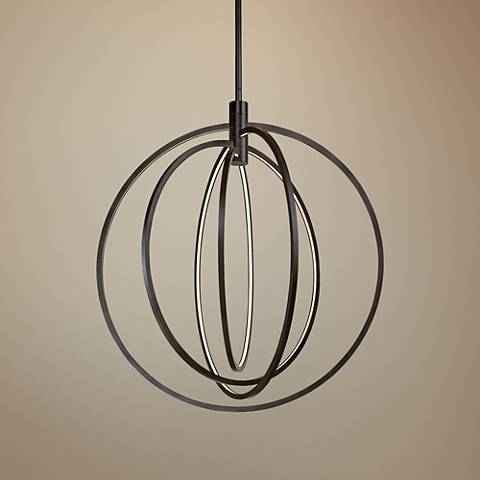 "ET2 Concentric 27"" Wide Bronze LED Pendant Light"