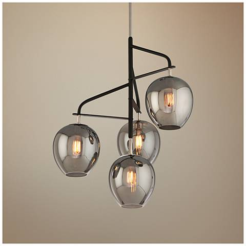 "Odyssey 29""W Carbide Black and Polished Nickel Pendant Light"
