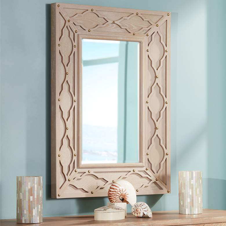 "Lanham Bleached Wood 29 1/4"" x 40 1/2"" Cutout Wall Mirror"