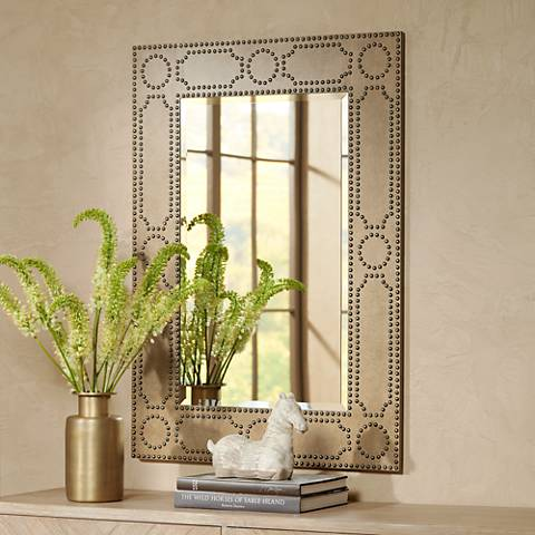 "Gideon Antique Light Brown 33 3/4"" x 47"" Wall Mirror"