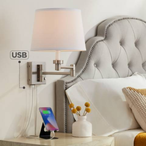 Vero Brushed Nickel Plug In Swing Arm Wall Lamp With Usb