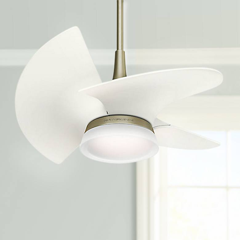 "30"" Orchid Pewter Revival - White LED Damp Ceiling Fan"