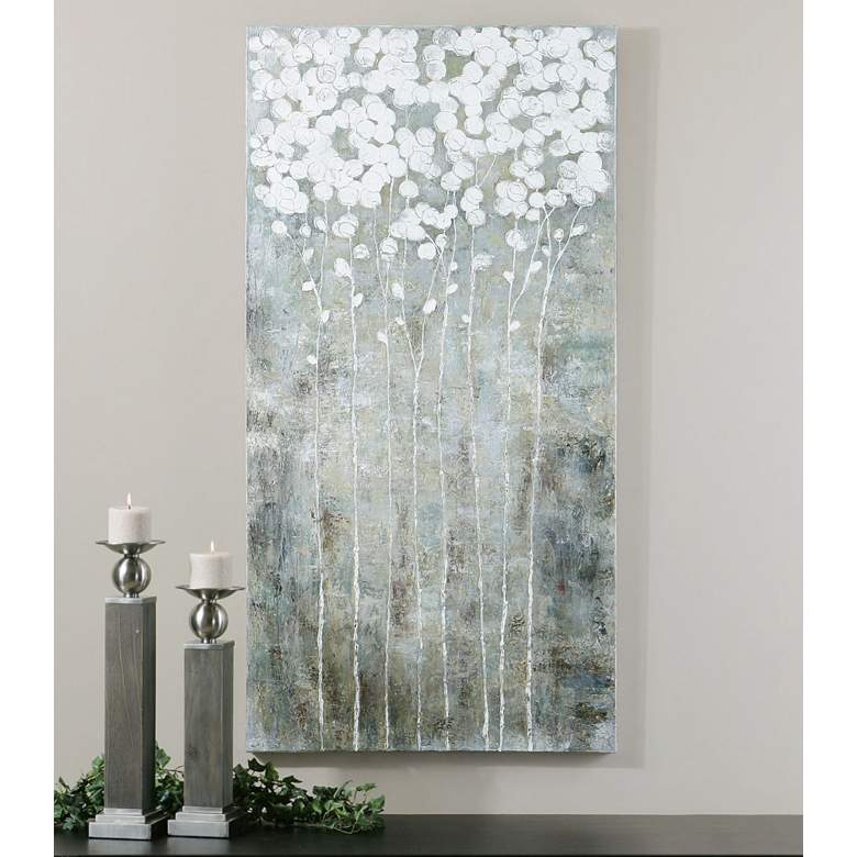 "Uttermost Cotton Florals 55"" High Framed Canvas Wall Art"
