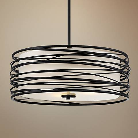 "Quoizel Spiral 20"" Wide Mystic Black Pendant Light"