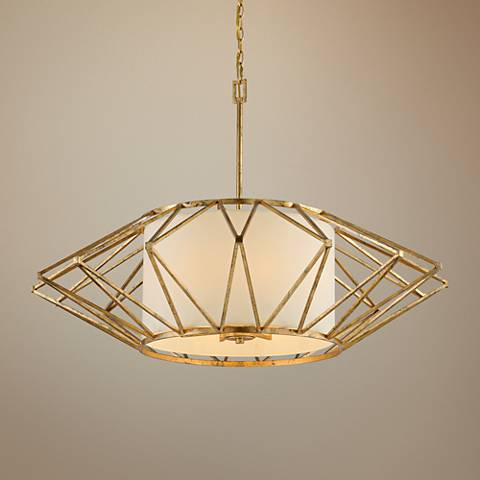 "Calliope 42"" Wide Rustic Gold Leaf Pendant Light"