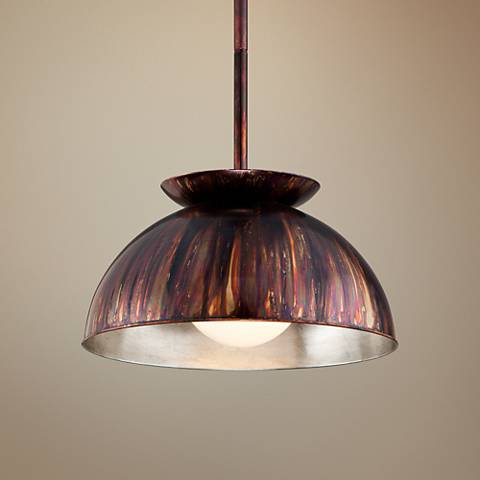 "Library 20 1/4""W Copper Patina with Silver Leaf Pendant"