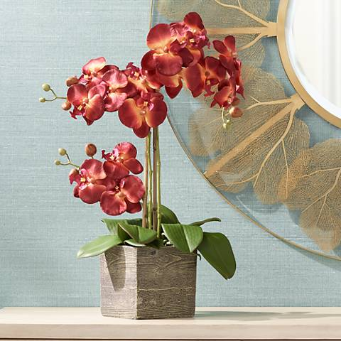 "Red Orchid 26"" High Silk Potted Plant"