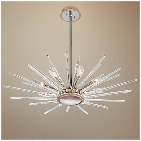 "Corbett Chill 44"" Wide Silver Leaf Pendant Light"
