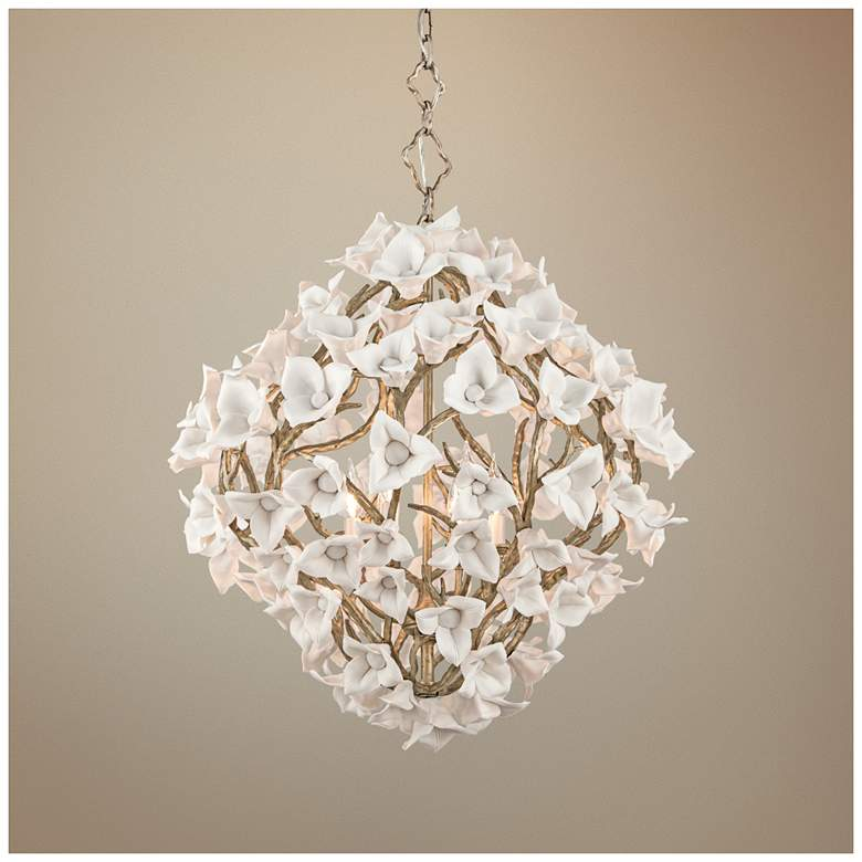 "Lily 26 1/4"" Wide Enchanted Silver Leaf Pendant Light"