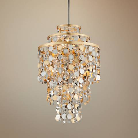 "Corbett Ambrosia 24"" Wide Gold and Silver Leaf Pendant Light"