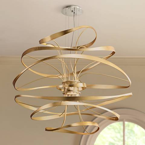 "Corbett Calligraphy 42"" Wide Gold Leaf LED Pendant Light"