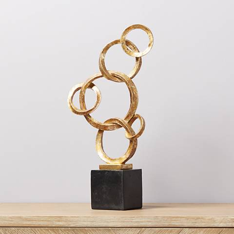 "Golden Rings 21 1/8"" High Sculpture"