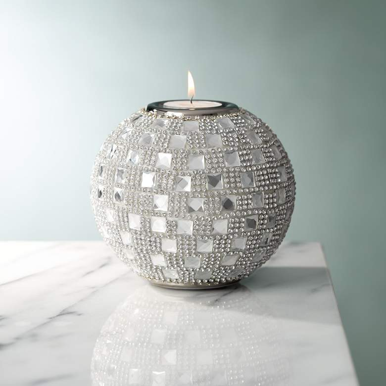 "Candelo 4 1/4"" High Crystal Beaded Tealight Candle Holder"