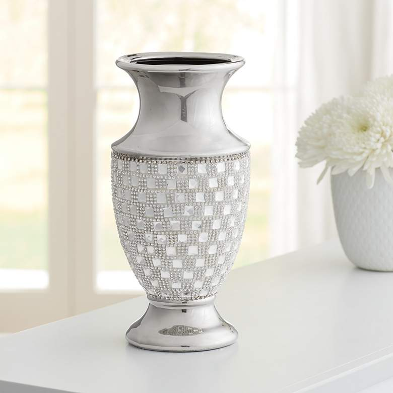 "Alino 11 1/2"" High Silver and Crystal Urn"