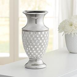 "Alino 11 1/2"" High Silver and Crystal Urn Vase"