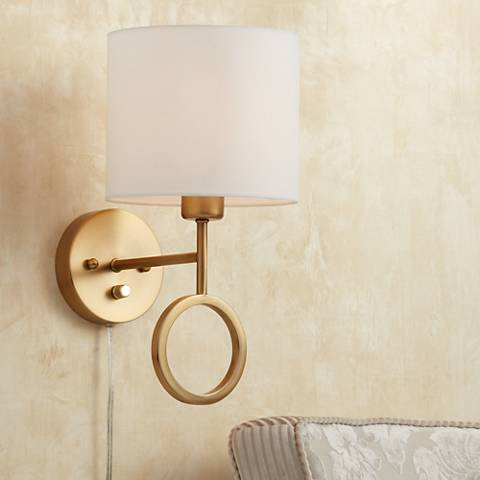 Amidon Warm Br Drop Ring Plug In Wall Lamp