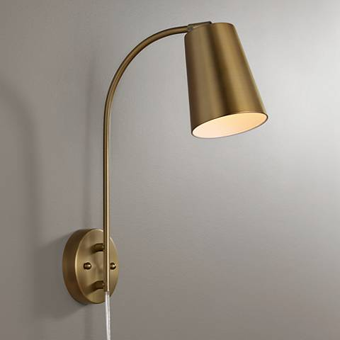 Sully Warm Br Plug In Wall Lamp