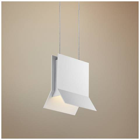 "Sonneman Lambda 5"" Wide Textured White LED Mini Pendant"