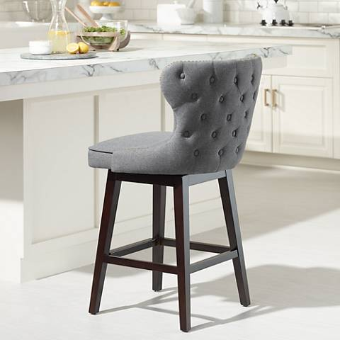 ariana 25 1 2 dark gray fabric swivel counter stool 9p607 lamps plus. Black Bedroom Furniture Sets. Home Design Ideas