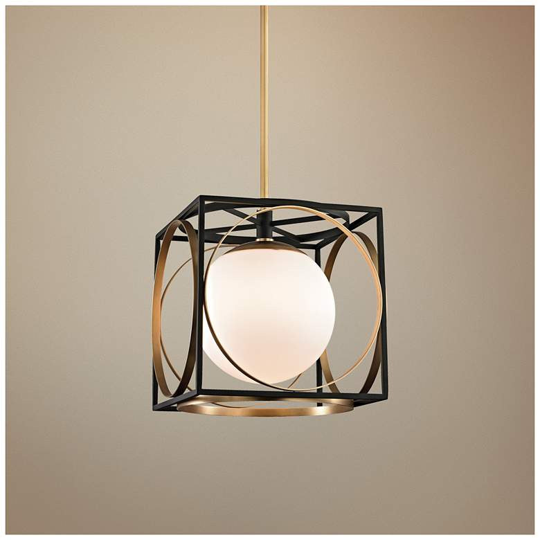 "Wadsworth 13 1/2"" Wide Aged Brass and Black Pendant Light"