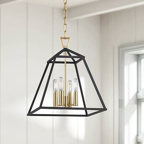 "Hudson Valley Webster 14"" Wide Aged Brass Pendant Light"