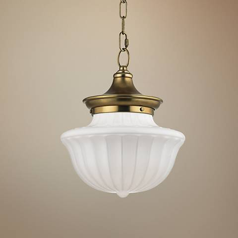 "Hudson Valley Dutchess 12"" Wide Aged Brass Pendant Light"