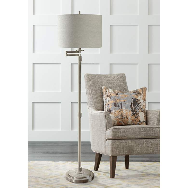 Kasaday Brushed Steel Swing Arm Floor Lamp