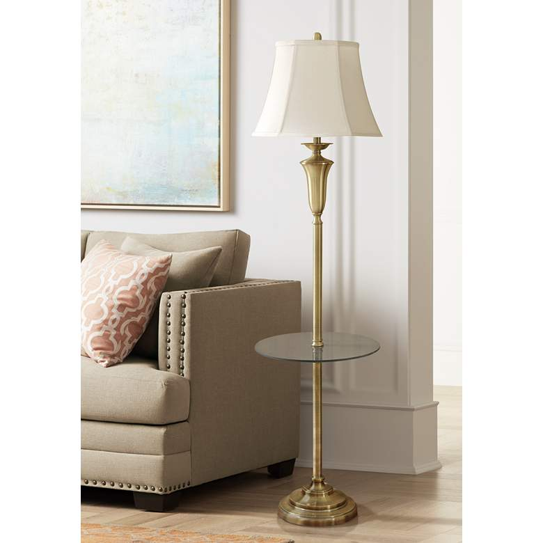 Staicey Brushed Brass Tray Table Floor Lamp