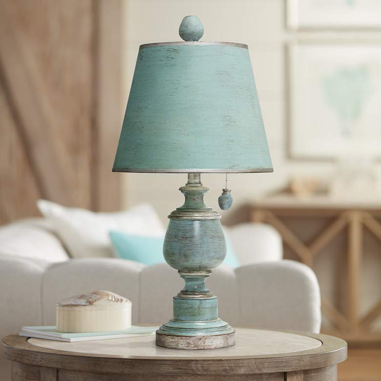Palmer Antique Coastal Blue Painted Urn Table Lamp