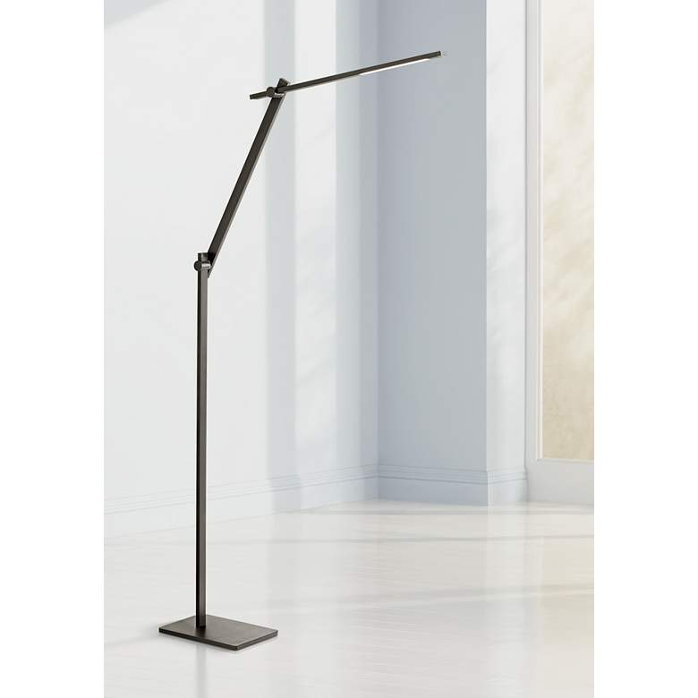 Possini Euro Barrett Anodized Black LED Floor Lamp
