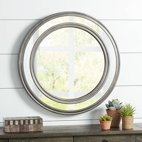"Havlock Brown Double Pane Wood 30 1/2"" Round Wall Mirror"