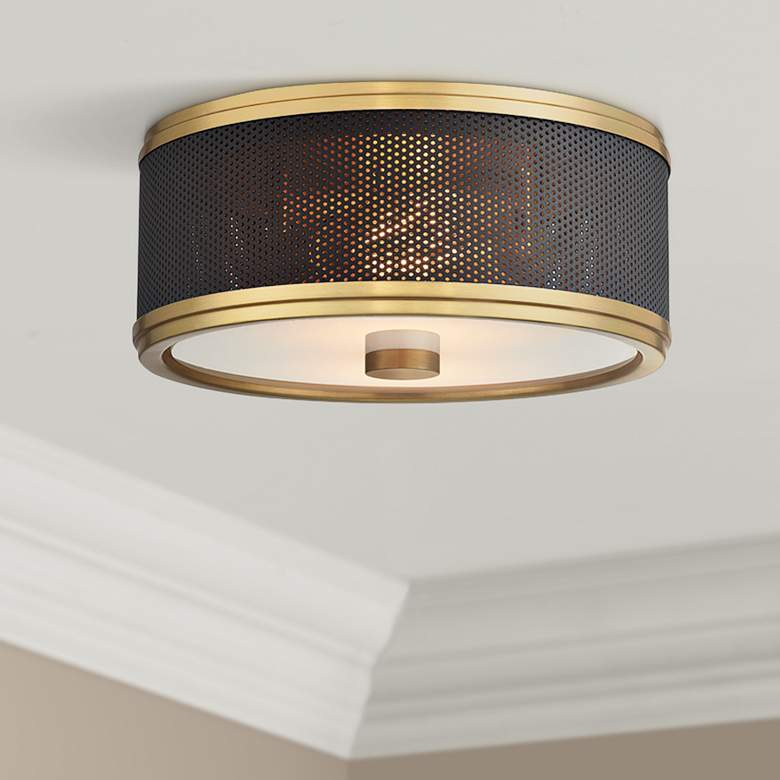 "Hudson Valley Fraser 11"" Wide Aged Brass Ceiling"