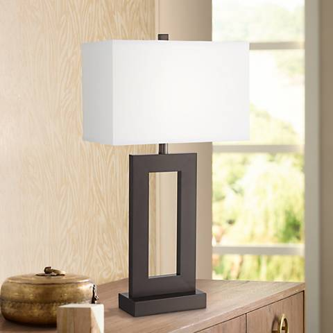 Marshall Open Window Bronze Table Lamp