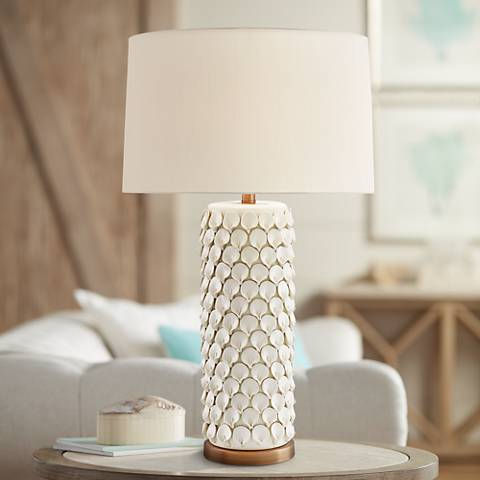 Currey and Company Calla Lily Cream Ceramic Table Lamp
