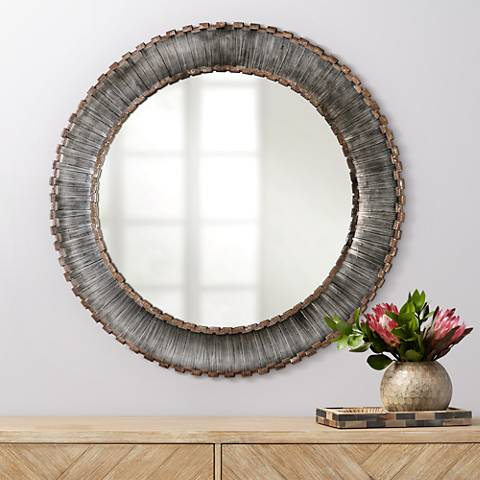 "Uttermost Tanaina Silver Strip 46"" Round Wall Mirror"