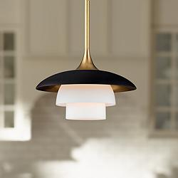 "Barron 8"" Wide Aged Brass and Black Mini Pendant"