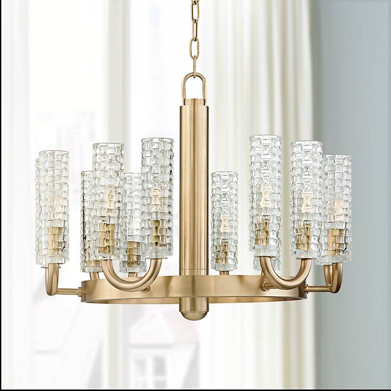 "Hudson Valley Dartmouth 24 3/4"" Wide Aged Brass Chandelier"