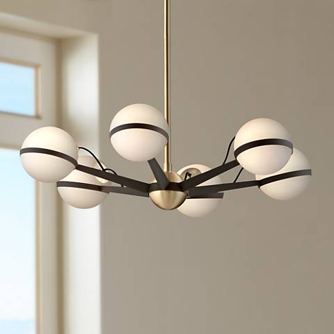 "Ace 27 3/4""W Textured Bronze and Brushed Brass Chandelier"