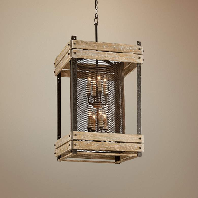 "Merchant Street 22"" Wide Rusty Iron Pendant Light"