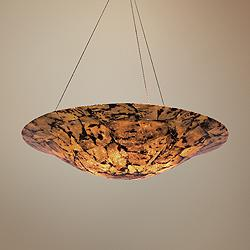 "Varaluz Big 36"" Wide Chocolate Tiger Shell Pendant Light"