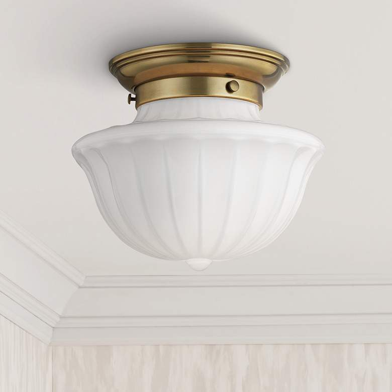 "Hudson Valley Dutchess 9"" Wide Aged Brass Ceiling Light"