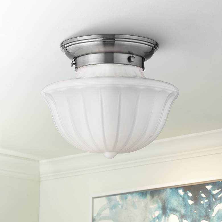 "Hudson Valley Dutchess 9"" Wide Satin Nickel Ceiling"