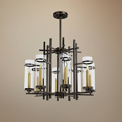 "Maxim Midtown 33 1/2"" Wide Gold Bronze LED Pendant Light"