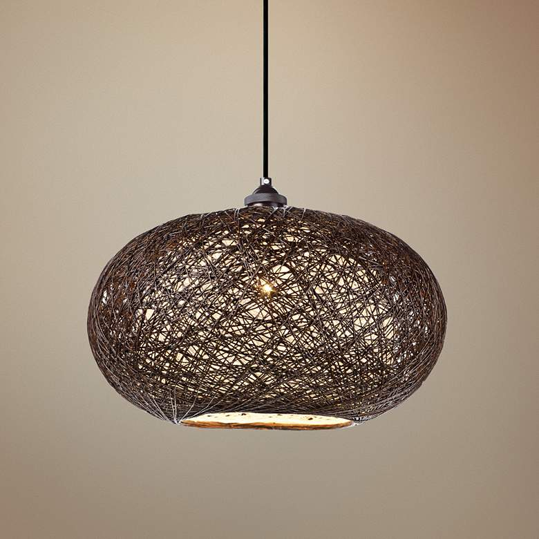 "Maxim Bali 15 3/4""W Chocolate Weave Outdoor Pendant"