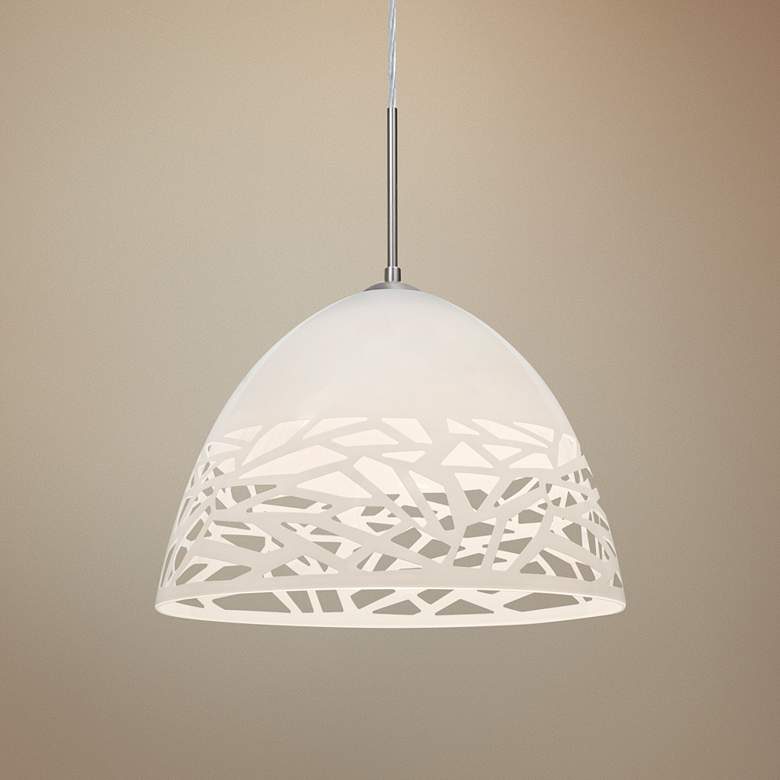 "Besa Kiev 12 1/2"" Wide Contemporary White Pendant"