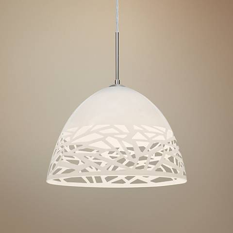 "Besa Kiev 12 1/2"" Wide Contemporary White Pendant Light"