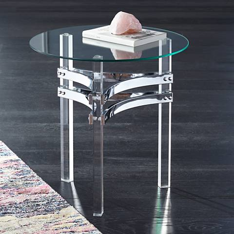 Serenity Glass Top and Clear Acrylic Round Accent Table