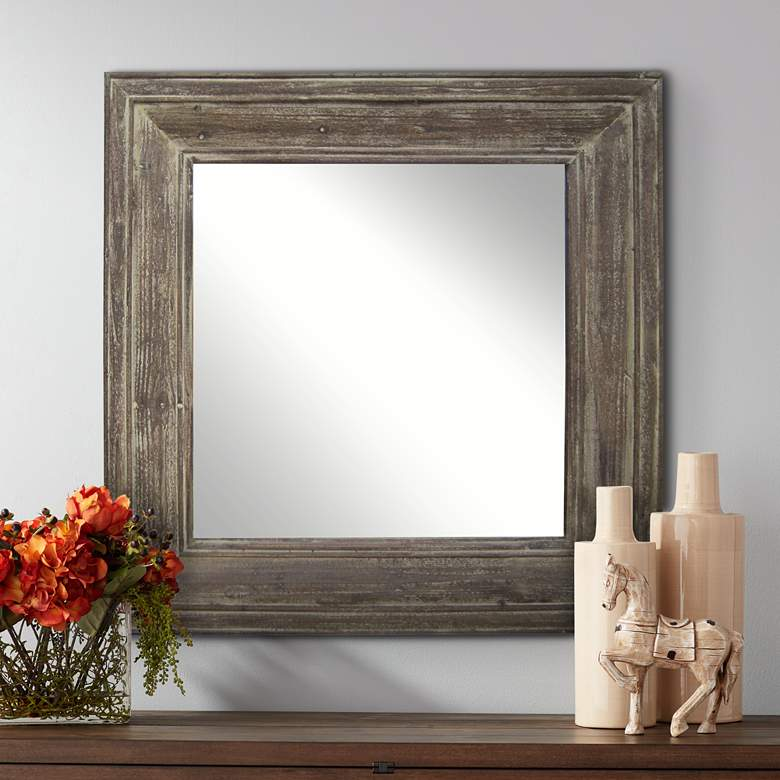 "Grant Distressed Wood 33 1/2"" Square Wall Mirror"