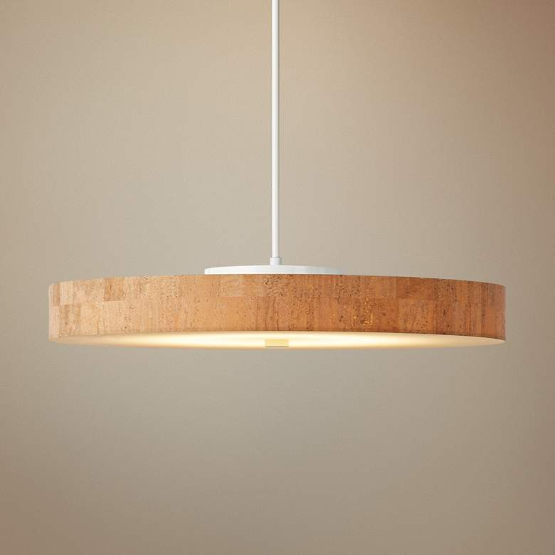 "Hubbardton Forge Disq LED 23""W Cork-White Pendant Light"